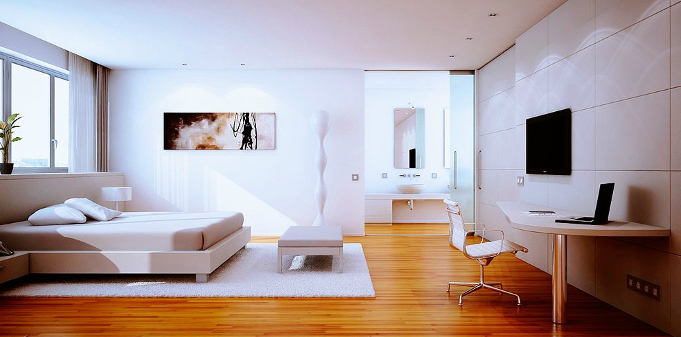 White Bedroom With Wooden Floor