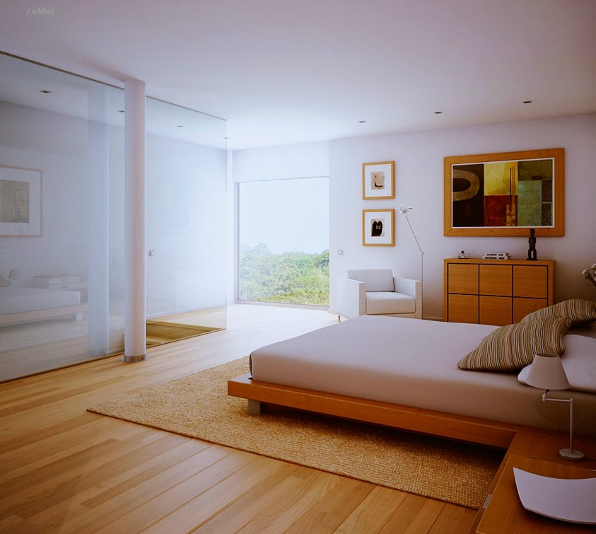 White Bedroom Wood Floors And View Interior Design Ideas