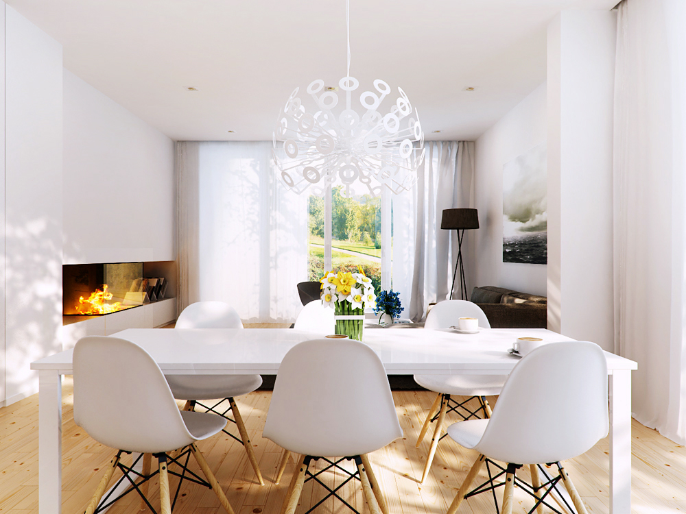 White dining area and fireplace inside wall interior for Interior design for dining area