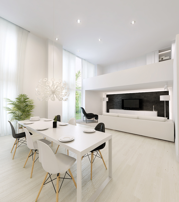 White dining table with white living area interior White interior design