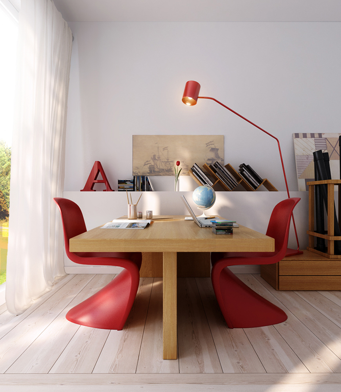 Wood office table with red modern chairs interior design for Modern office room interior design