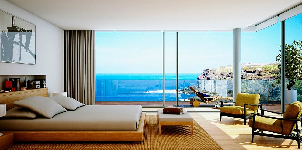 Wooden furniture bedroom with beach view interior design for Beach house bedroom designs