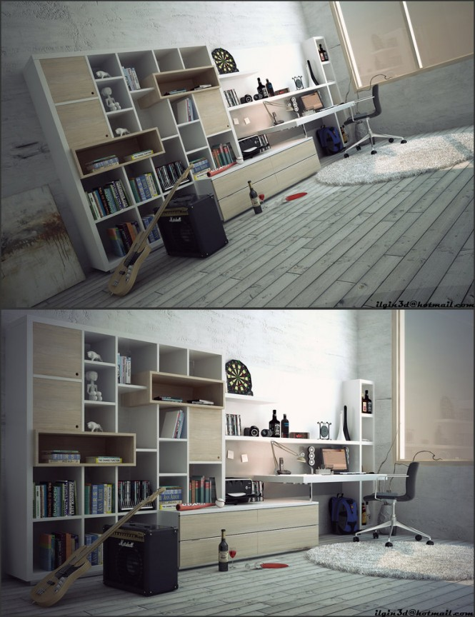 This workspace rendering by Mengot is similar to Akcalar's first rendering, with a rustic vibe, wooden floors, and grey walls. Once again it is assumed to be an artist's workspace (musician's).