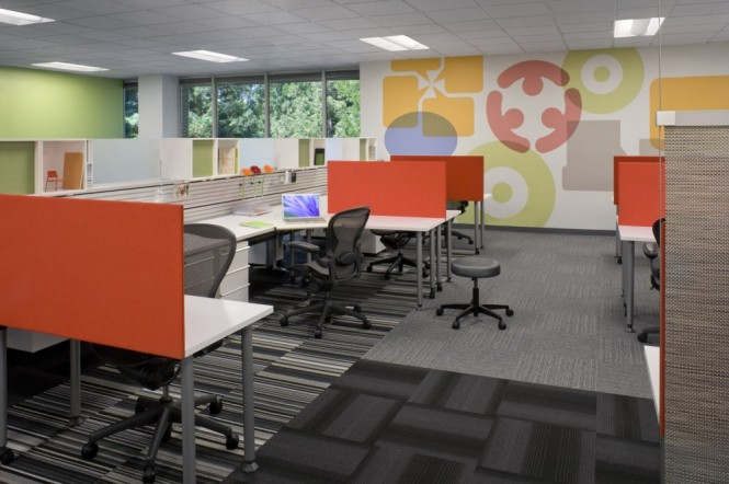 6x7 bench workstations are more affordable, and made with sustainable materials. The stations are lower in height, so as to use less artificial lighting, and more natural light coming in through windows.