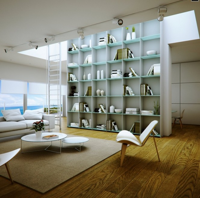 Library Shelves in Beachside Home