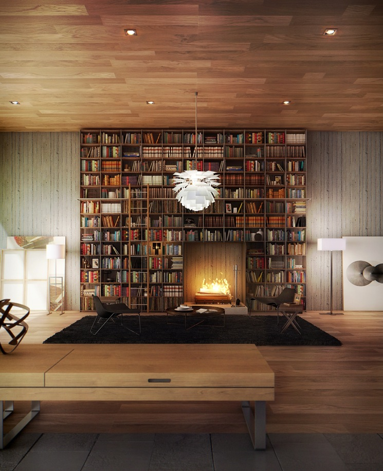 Library above Fireplace | Interior Design Ideas.