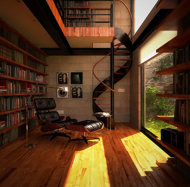 Library overlooking Garden and Spiral Staircase