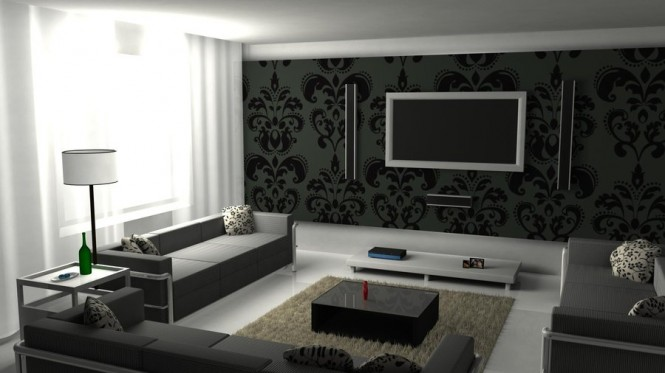 This edgy black and white living room with graphic prints on the wall and pillows, is quite trendy and elegant.