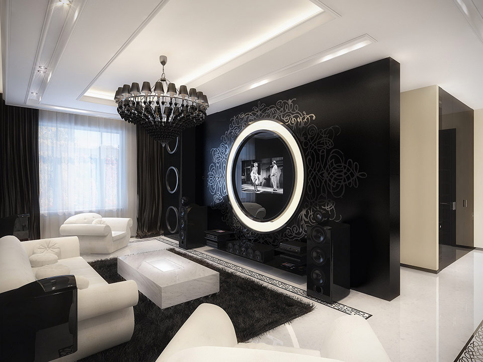 Modern Vintage Apartment Oozes Luxury : black and white living room from www.home-designing.com size 960 x 720 jpeg 124kB