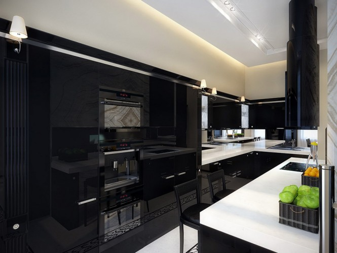 black kitchen with white countertop