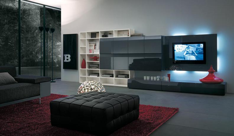 Modern tv wall units for Wall mounted tv designs living room