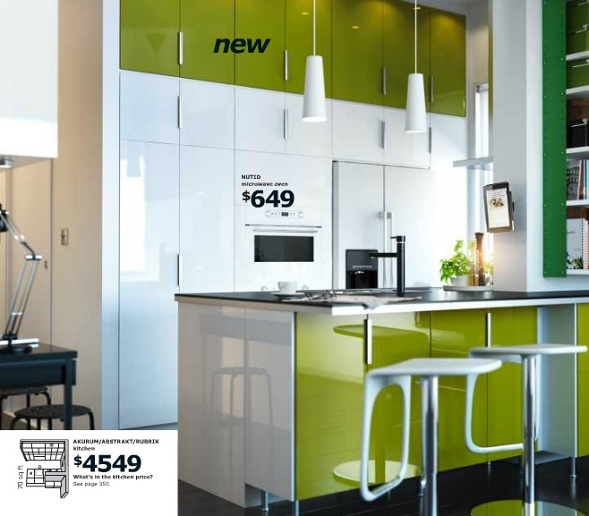 Ikea green and white kitchen interior design ideas for Green and white kitchen designs