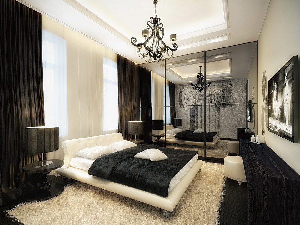 Luxurious black and white bedroom interior design ideas for Luxurious bedroom interior design ideas