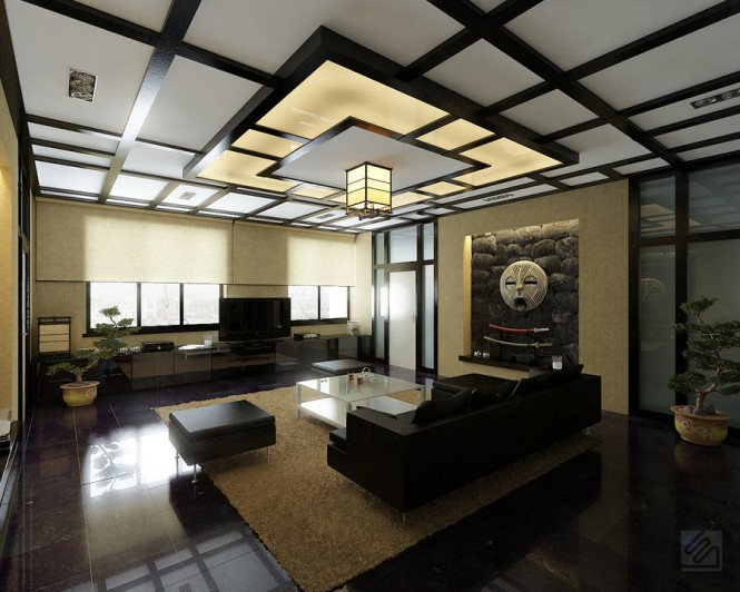 Modern Japanese-style living room offers low furniture, a Japanese-style ceiling and metal wall art, along with bonsai tree accessories.