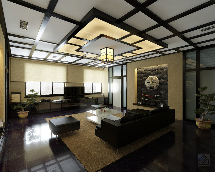 Super stylish living rooms Japanese inspired room design