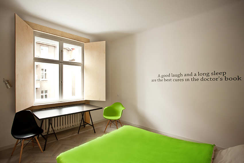 polish apt bedroom with quote on wall interior design ideas