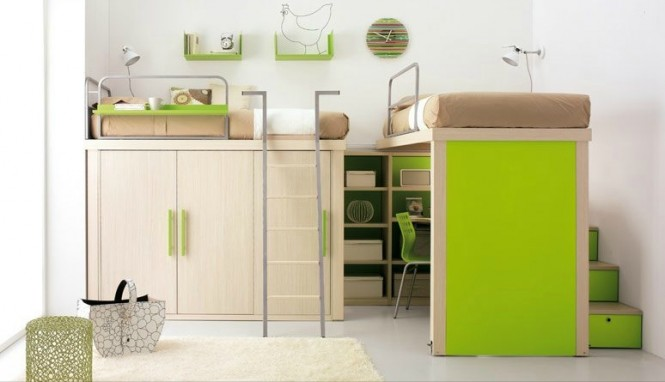 shared kids room in lime and white