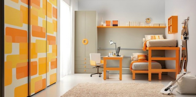 shared kids room in orange and white