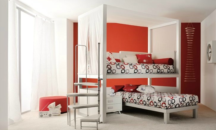 Shared Kids Room In Red And White 2 Interior Design Ideas
