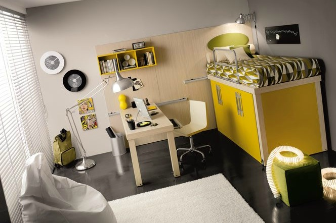 shared kids rooms with yellow and white and green