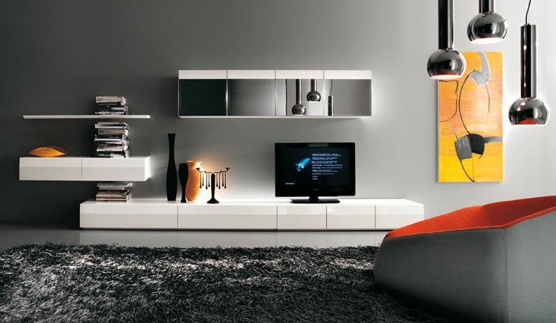Modern tv wall units for Wall mounted tv cabinet design ideas