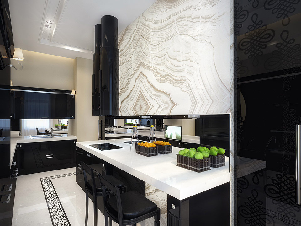 White and black kitchen interior design ideas for Black and white kitchens photos