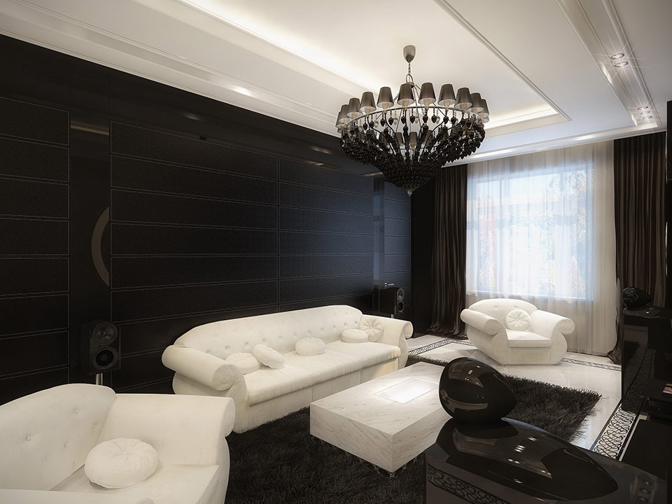 white and black living room | interior design ideas.