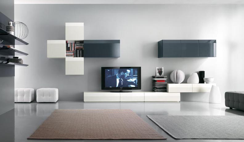 Creative bedroom ideas small bedroom light colors wall mounted tv - Modern Tv Wall Units