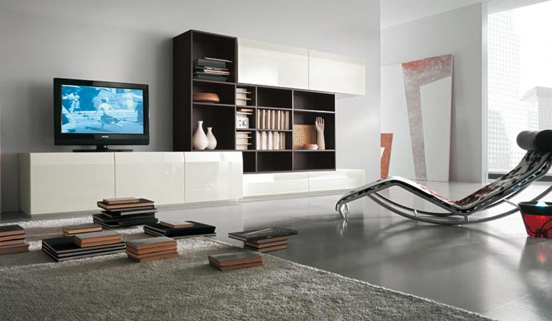 Modern tv wall units - Deco noir blanc gris ...