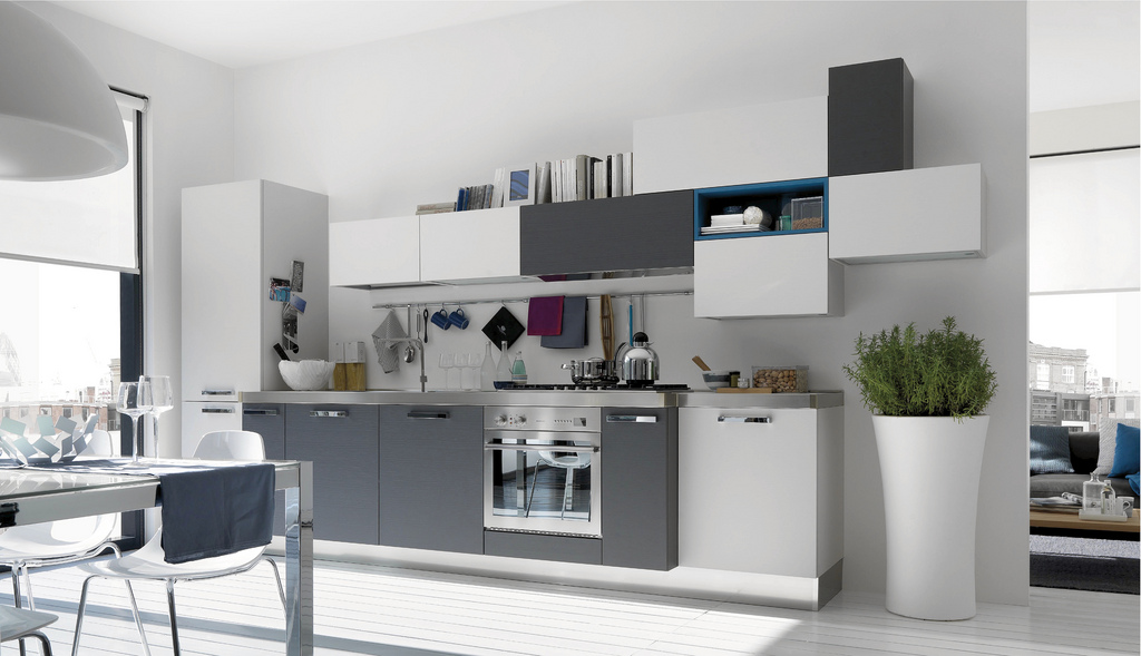 Open modern kitchens with few pops of color for Modern white and gray kitchen