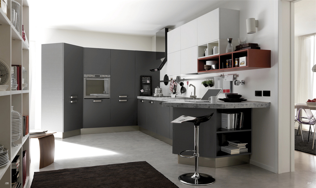 Open modern kitchens with few pops of color Gray and white kitchen ideas