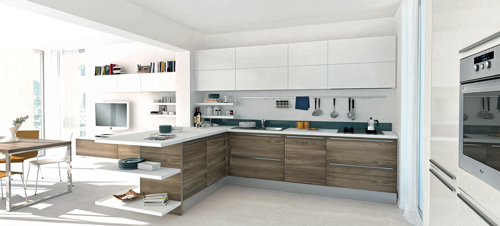 Open modern kitchens with few pops of color for Modern wood kitchen cabinets