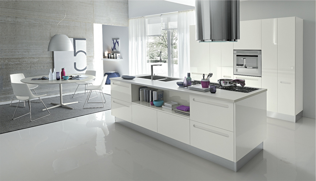 Open modern kitchens with few pops of color for Kitchen designs white