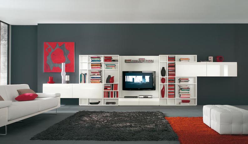 Modern tv wall units - Deco salon rouge et noir ...