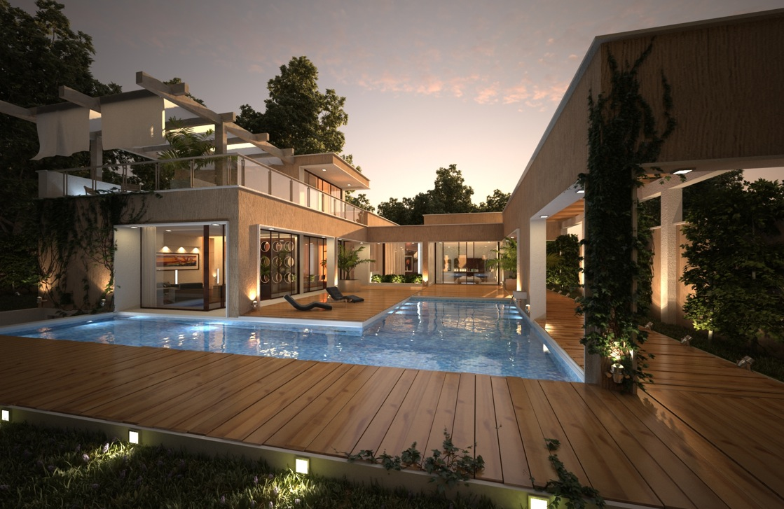 House with pool renders for Eclairage terrasse bois exterieur