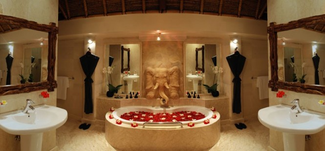 A luxurious tub with floating flower petals is truly romantic for couples.
