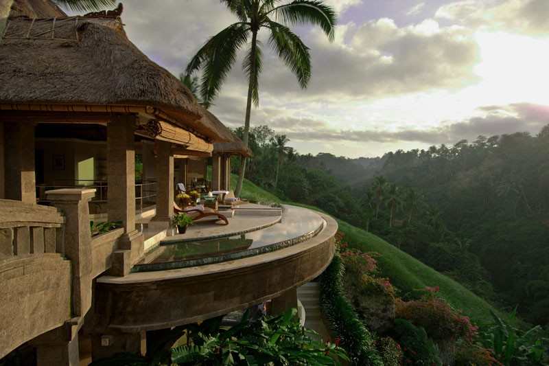 A semi circular terrace offers majestic and breathtaking views of Ubud's lush forestry.