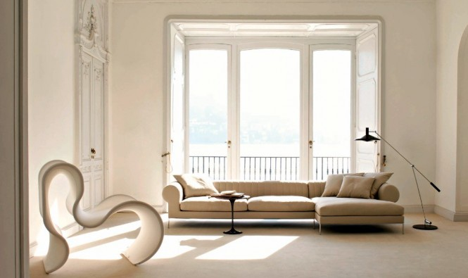 Busnesli Beige Living Room with Terrace