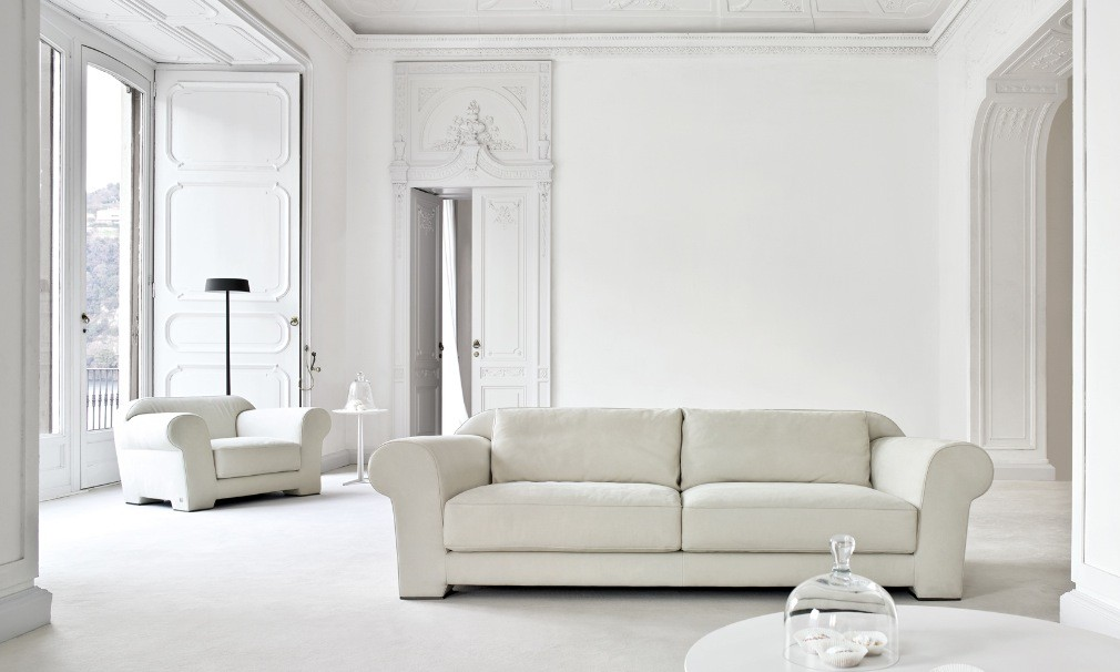Busnesli white living room interior design ideas for Modern white living room furniture