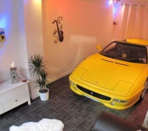 Car in home yellow ferrari