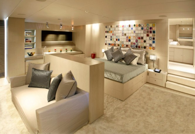 Red Dragon yacht bedroom area