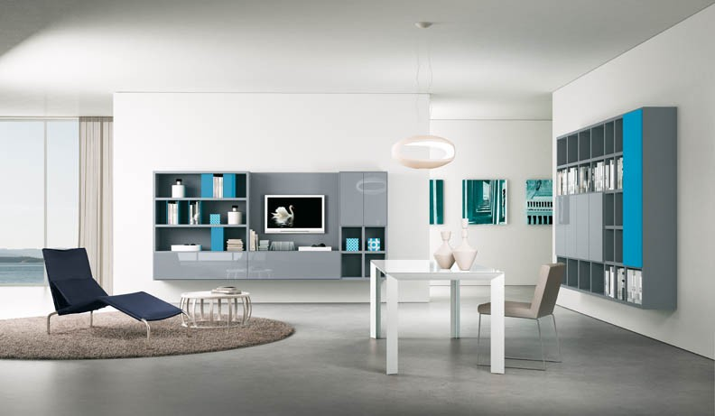 Shelves Grey and Turquoise Interior Design Ideas.