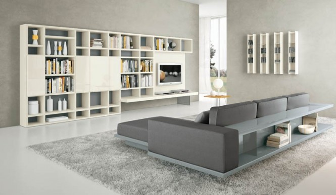 Shelves White with Grey Furniture