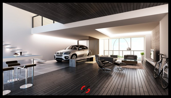 Cars parked inside homes pretty or pretty weird for Garage family room