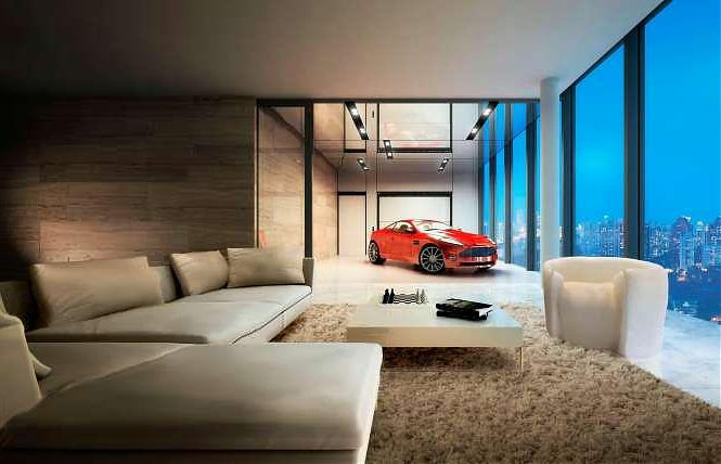 car in home red car beige living area