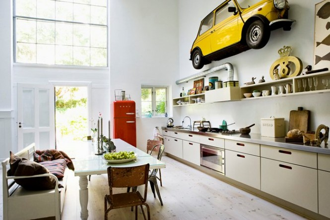 Car yellow in home decoration in kitchen1 665x444