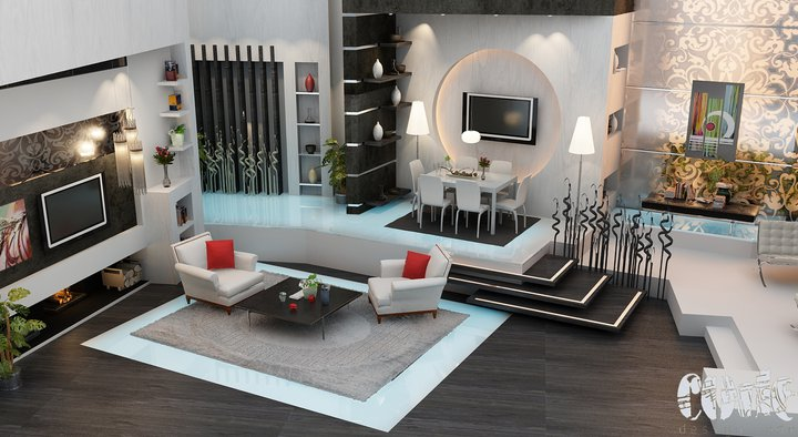Interior renderings by design code for Black red and grey living room ideas