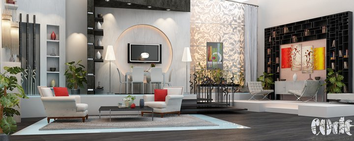 Interior renderings by design code for Living room amman