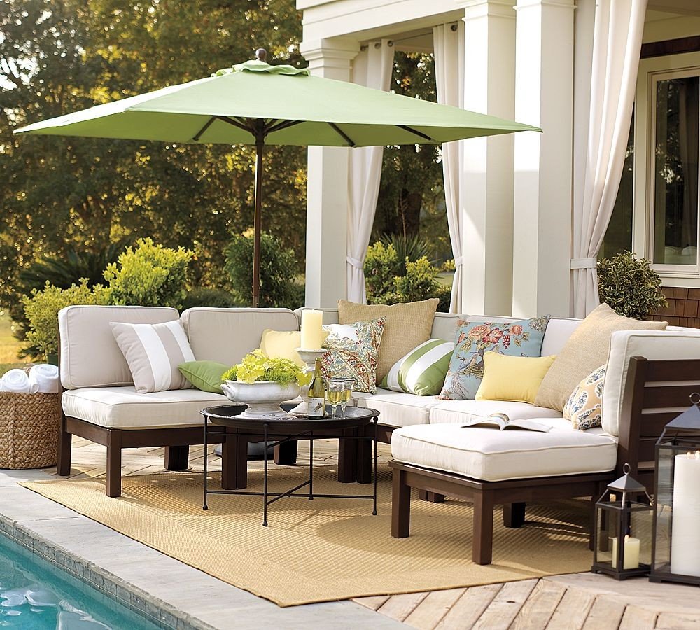 Outdoor garden furniture by pottery barn for Backyard pool furniture