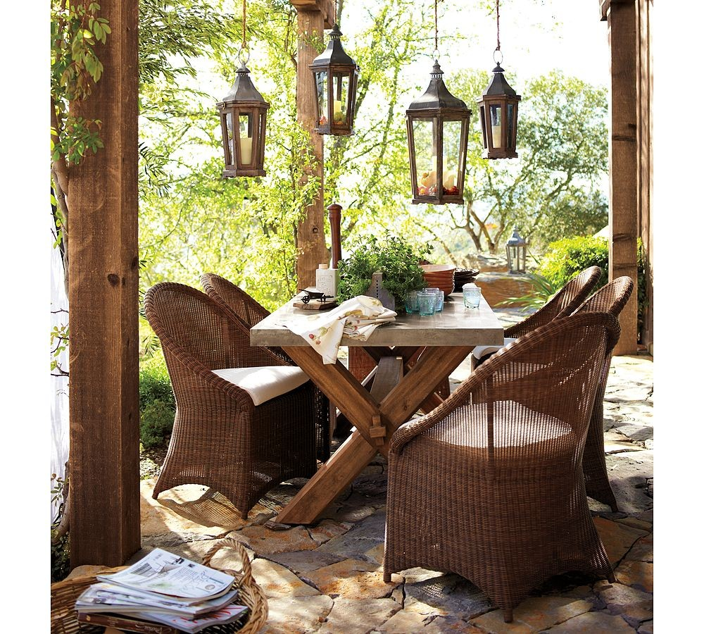 Pottery Barn Rustic Wicker Outdoor Furniture Interior Design Ideas